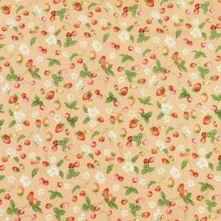 Коттон бежевый в клубнички, вишни и белые цветы, ш.146