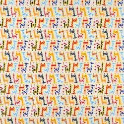 Коттон кремовый в разноцветные жирафы, ш.146