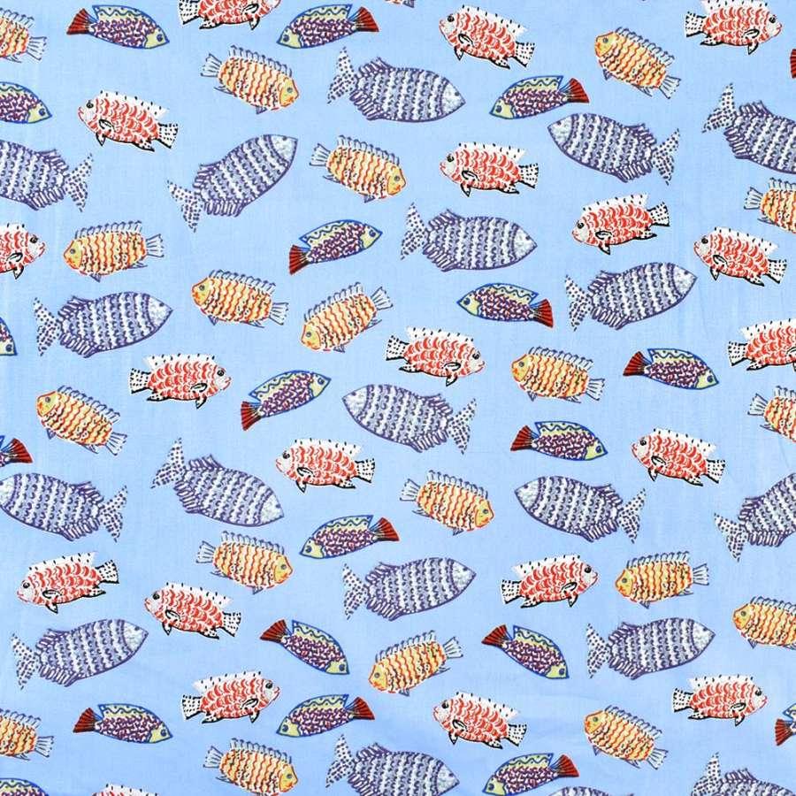 Коттон голубой в разноцветные рыбы, ш.146