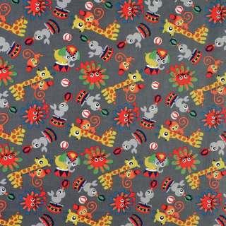 Коттон серый в жирафы, обезьянки, львы, ш.146