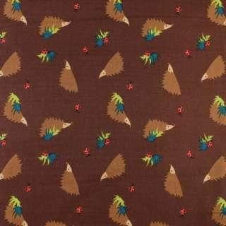 Коттон коричневий темний в коричневі їжачки, ш.135