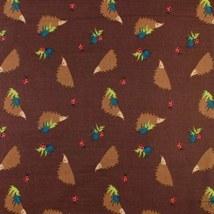 Коттон коричневый темный в коричневые ежики, ш.135