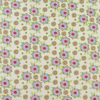 Коттон кремовий в рожево-блакитні квіти, зелене листя, ш.136