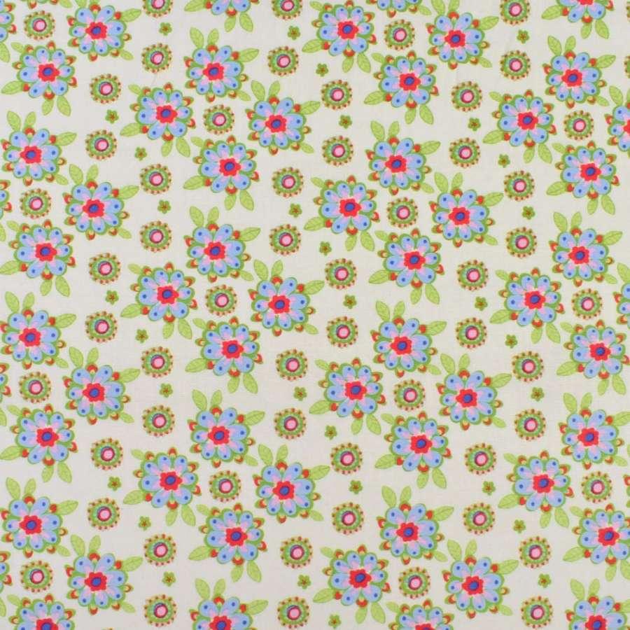 Коттон кремовый в розово-голубые цветы, зеленые листья, ш.136