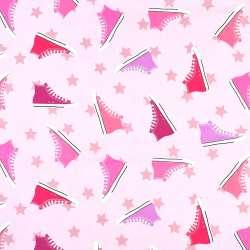"""Коттон """"Darling"""" розовый в разноцветные кеды, ш.136"""