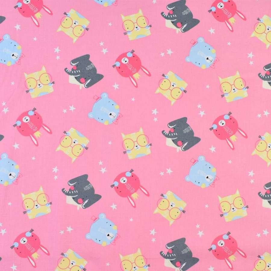 Коттон розовый мишки, слоники, котики, ш.140