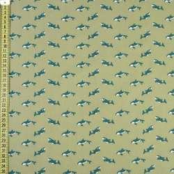 """Коттон """"Darling"""" оливковый в зеленые косатки, ш.150"""