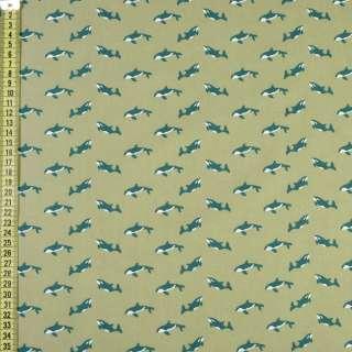 """Коттон """"Darling"""" оливковий в зелені косатки, ш.150"""