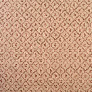 Коттон бежевий в ромби з червоного листя з квітами, ш.110