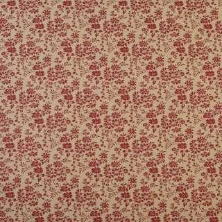 Коттон бежевий в дрібні червоні квіти і листя, ш.110