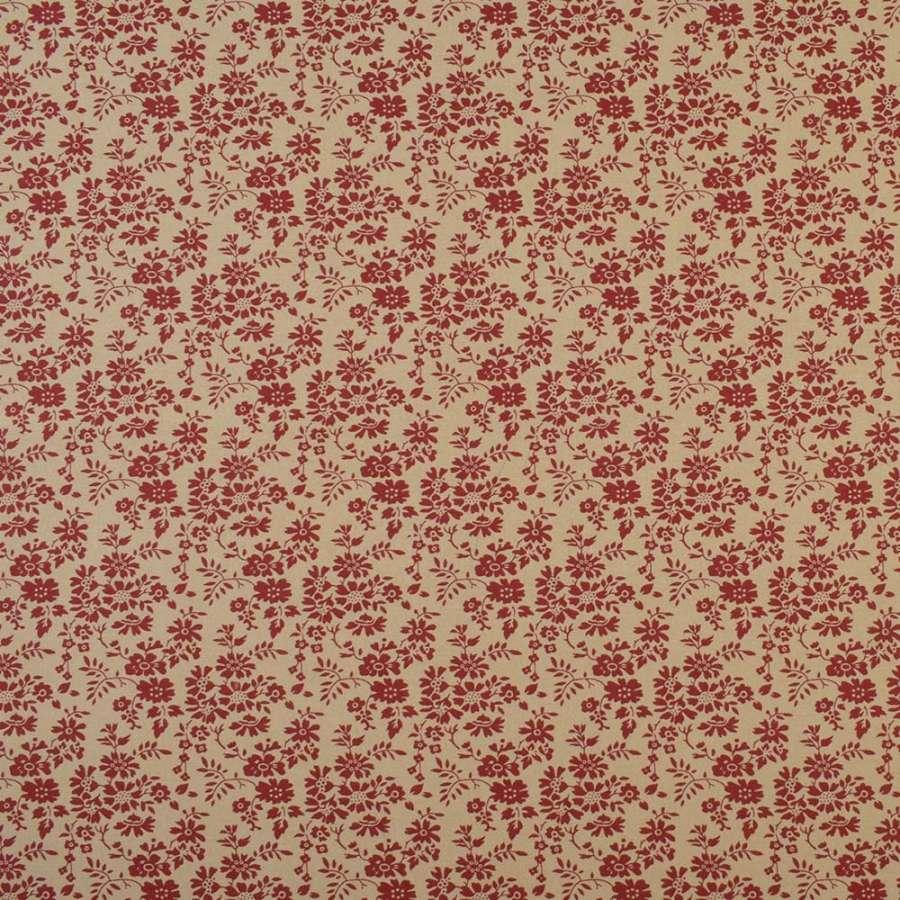 Коттон бежевый в мелкие красные цветы и листья, ш.110