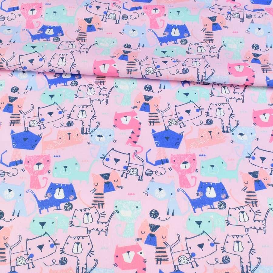 Коттон розовый, разноцветные коты, ш.143