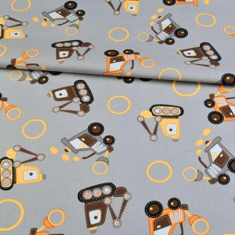 Коттон серый, желтые, оранжевые трактора, ш.145