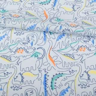 Коттон блакитний, різнокольорові динозаври, ш.145