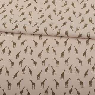 Коттон бежевий, коричневі жирафи, ш.150