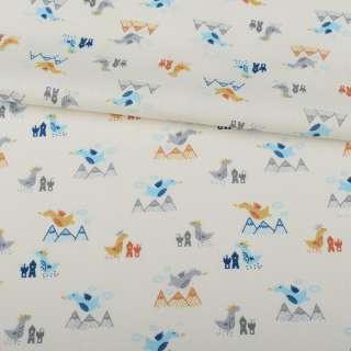 Коттон белый, серые, голубые дракончики, ш.155