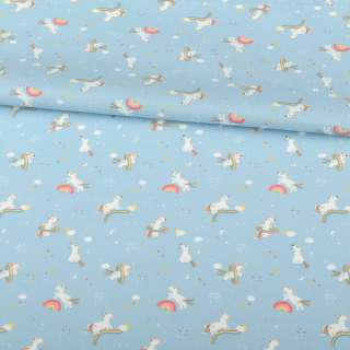 Коттон голубой, белые единороги на радугах, ш.157