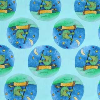 """Коттон """"Popelin"""" світло-бірюзовий жаби на синіх колах ш.147"""