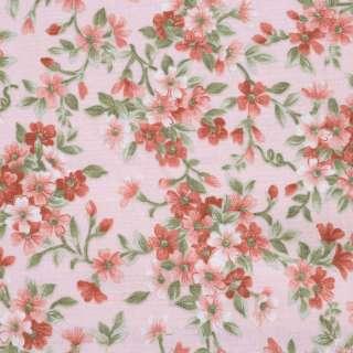 """Коттон """"Англія"""" персиковий в теракотові квіти ш.110"""