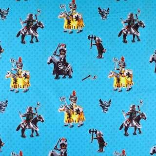 """Коттон """"Popelin"""" яскраво-блакитний з лицарями ш.147"""