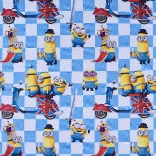 """Коттон """"Popelin"""" білий з міньйонами на шахматці ш.147"""