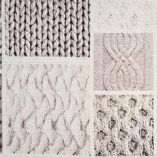 Коттон раппорт белый в бежевые вязаные узоры, длина 97см, ш.150