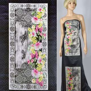 Коттон сатин черный в горох с картинками и цветами рапорт ш.141