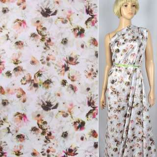 """Коттон-сатин """"Apanage""""белый в персиково-зелено-розовые цветы ш.143"""
