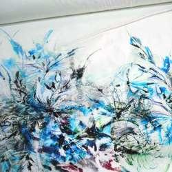 Коттон белый в сине-зеленые и серые цветы, купон