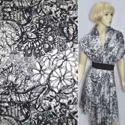 Коттон белый с черными цветами ш.153