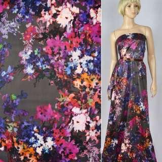 Коттон сатин темно-серый в фиолетово-розовые цветы ш.141
