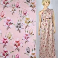 Коттон сатин бледно-розовый в розовые, коричневые тюльпаны ш.141