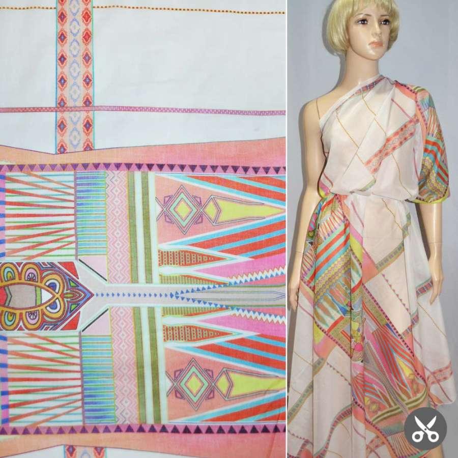 Коттон молочный с разноцветным геометрическим рисунком раппорт ш.135
