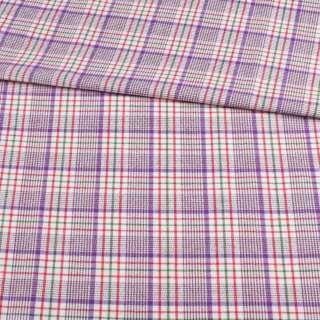 Шотландка костюмная белая в фиолетово-красную клетку ш.150