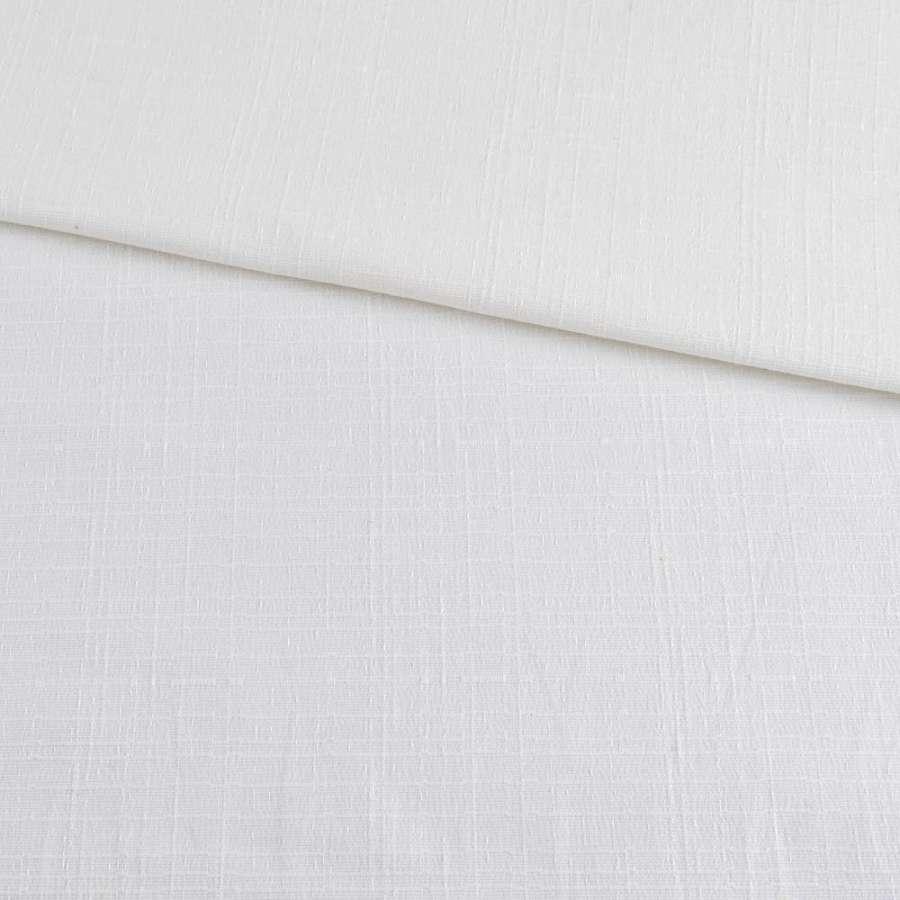 Коттон стрейч белый в рельефную полоску, ш.150