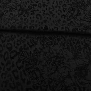 Коттон стрейч чорний з флоком ш.160