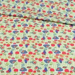 Котттон белый с голубыми и розовыми грибочками, ш.150