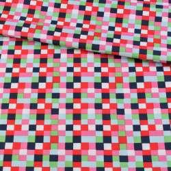 Коттон в красные, розовые, синие квадратики, ш.145