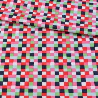 Коттон в червоні, рожеві, сині квадратики, ш.145