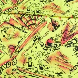 Коттон жовтий неоновий, чорні човни, ш.150