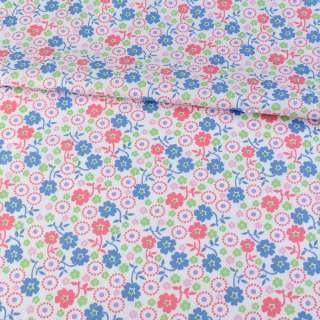 Коттон білий в сині, рожеві, зелені квіточки, ш.145