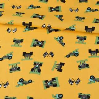 Коттон желтый, гоночные машинки, ш.147