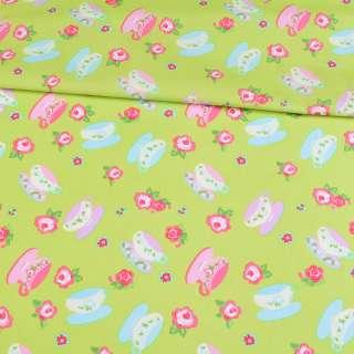 Коттон салатовый, розовые, голубые чашки и розочки, ш.148
