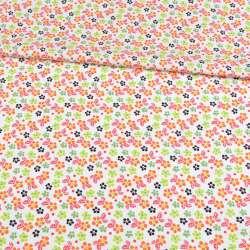Коттон белый в оранжевые, зеленые цветочки, ш.148