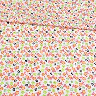 Коттон білий в помаранчеві, зелені квіточки, ш.148
