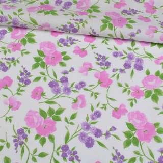 Коттон білий, рожеві троянди, бузкові ромашки, ш.148