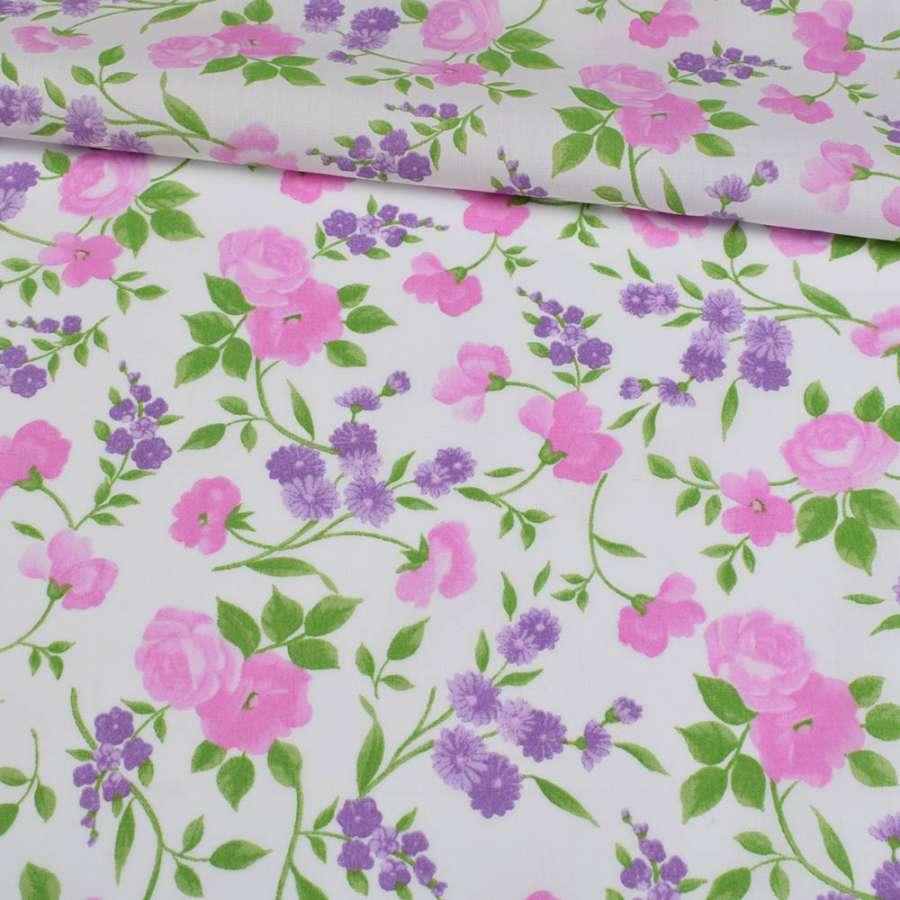 Коттон белый, розовые розы, сиреневые ромашки, ш.148