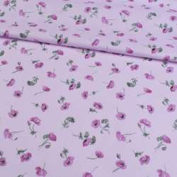 Коттон сиреневый в лиловые маки, ш.140