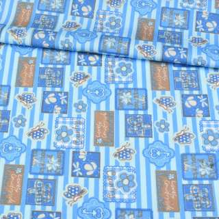 Коттон голубой в синюю полоску, бабочки, цветы, ключики, ш.148