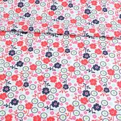 Коттон белый, розовые, красные, синие цветы, ш.146